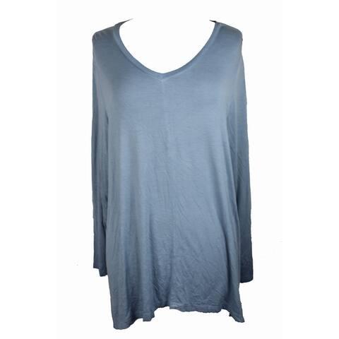 Style & Co Plus Size Blue Long Sleeve Bridge-Hem Top 1X