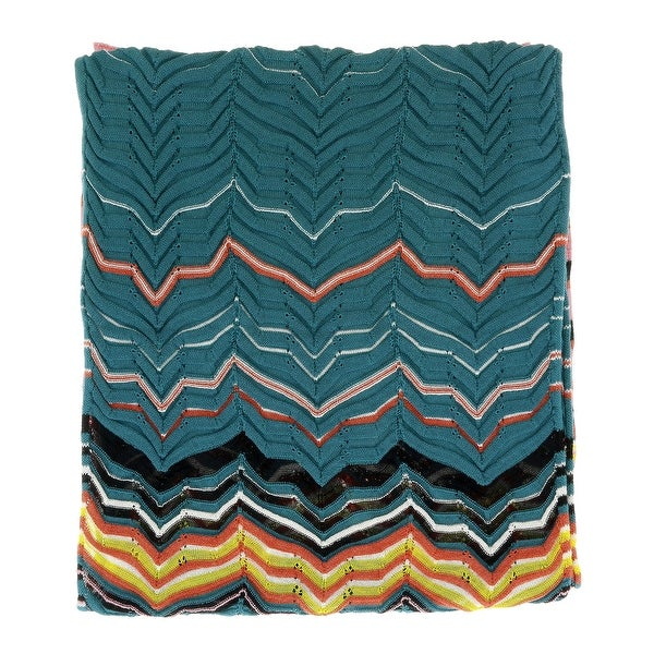 Missoni Teal/Brick Long Fine Zigzag Scarf - 16-71. Opens flyout.