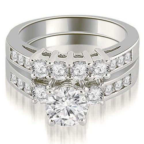 1.70 cttw. 14K White Gold Prong Set Round Cut Diamond Bridal Set