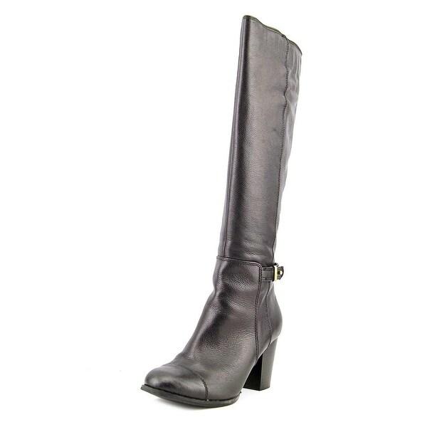 Giani Bernini Ellee Women Round Toe Leather Black Knee High Boot