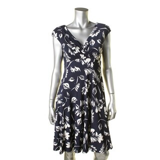 Lauren Ralph Lauren Womens Petites Gathered Cap Sleeves Casual Dress