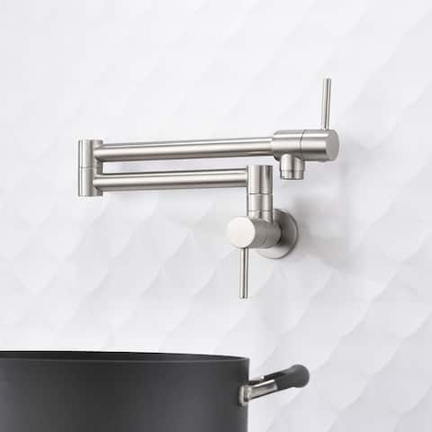 Brass Folding Faucet Wall Mount Kitchen Faucet Two Handles Silver
