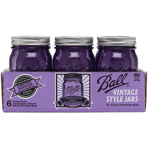 Ball Regular Mouth Canning Jars 6/Pkg-Pint - Heritage Collection Purple
