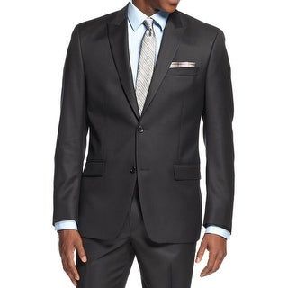 Shaquille O'Neal Mens Two-Button Suit Jacket Wool Peak Lapel