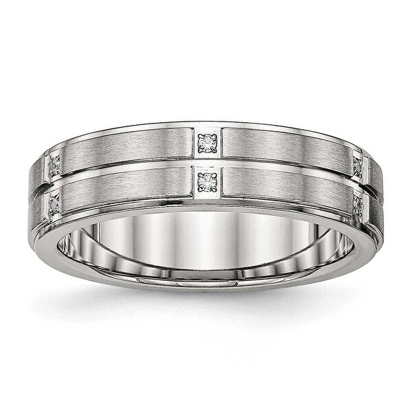 Stainless Steel Brushed and Polished Grooved/Ridged Edge CZ Ring (6 mm) - Sizes 7 - 13