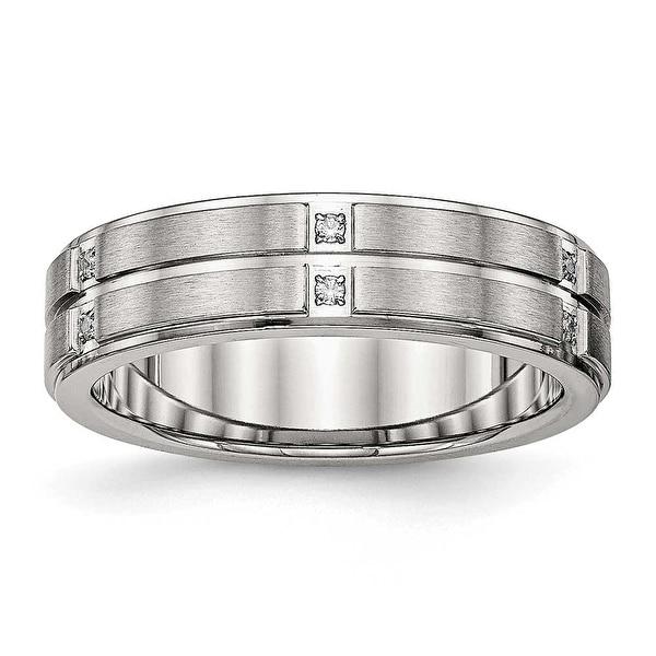 Bridal & Wedding Party Jewelry Titanium Grooved Ridged Edge 10mm Brushed Wedding Ring Band Size 13.50 Fashion Refreshment