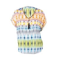 NY Collection Women's Printed Crepe Chain-Link Neck Top