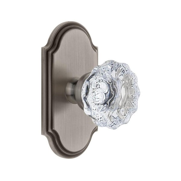 Grandeur ARCFON_SD_NA Arc Solid Brass Rose Single Dummy Door Knob with Fontainebleau Crystal Knob