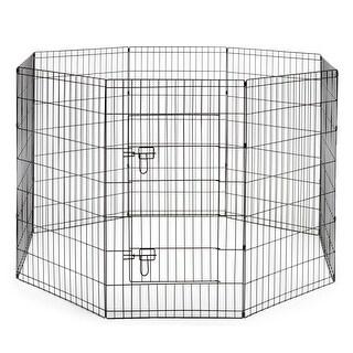 Puppy Dog Playpen Indoor Outdoor Pet Exercise Play Yard Pen Run Black - 5 Sizes