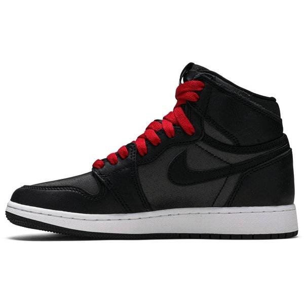 Shop Jordan 1 Retro High Og Black Satin Gym Red Kids Shoe 575441