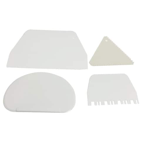 4x White Plastic Cake Cutter Smoother Scraper Set DIY Tool