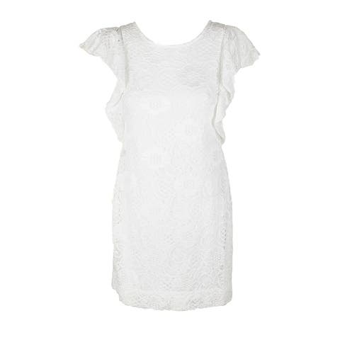 Signature By Robbie Bee White Flutter-Sleeve Lace Shift Dress PL