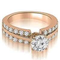 1.35 cttw. 14K Rose Gold Two Row Round Cut Diamond Engagement Ring
