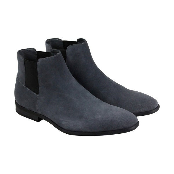 Calvin Klein Larry Calf Mens Gray Suede Casual Dress Slip On Boots Shoes