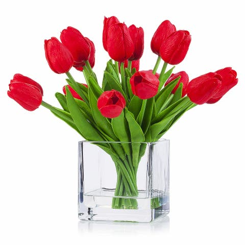 Enova Home 20 Pieces Artificial Real Touch Tulips Flower Arrangement in Cube Glass Vase With Faux Water For Home Decoration