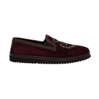 Dolce & Gabbana Bordeaux Suede Embroidered Loafers - eu44-us11