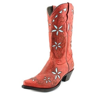 Stetson 13 Inch Flower Underlay Riding Boot Women Leather Red Western Boot