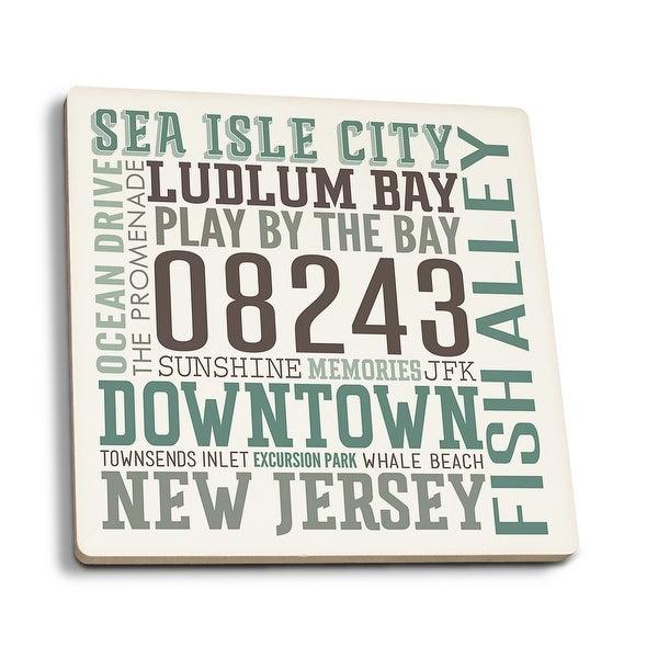 Sea Isle City, NJ - Typography - LP Artwork (Set of 4 Ceramic Coasters)