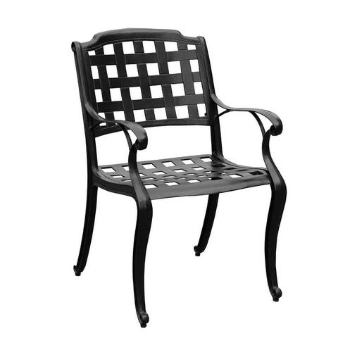 Modern Ornate Outdoor Mesh Aluminum 48-in Round Patio Dining Set with Four Chairs