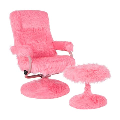 Offex East Side Contemporary Swivel Recliner and Ottoman in Pink Fur