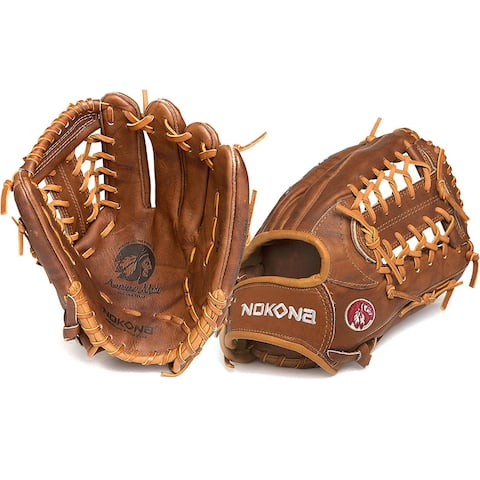 Nokona W-1275/R Walnut 12.75-inch Baseball Glove with Modified Trap for Left Handed Thrower