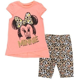 Disney Little Girls Coral Minnie Mouse Bow Pattern Top 2 Pc Pant Set