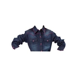 Roper Western Shirt Girls L/S Pocket Snap Blue 03-080-0594-6031 BU