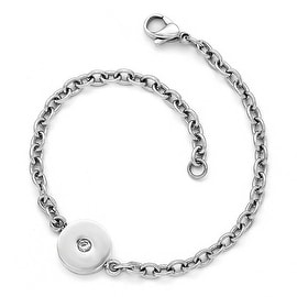 Chisel Stainless Steel Polished Crystal Bracelet