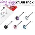 5 Pcs Value Pack of Assorted 316L Surgical Steel Prong Set Gem Nose Bone - Thumbnail 0