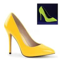 Pleaser Women's Amuse 20 Neon Yellow Patent