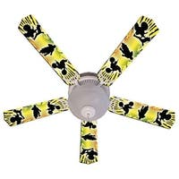 Yellow Motocross Print Blades 52in Ceiling Fan Light Kit - Multi