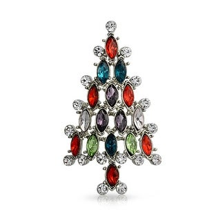 Bling Jewelry Marquise Crystal Christmas Tree Brooch Pin Rhodium Plated