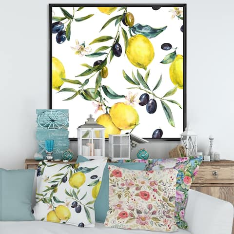 Designart 'Lemon and Olive Branches II' Tropical Framed Canvas Wall Art Print