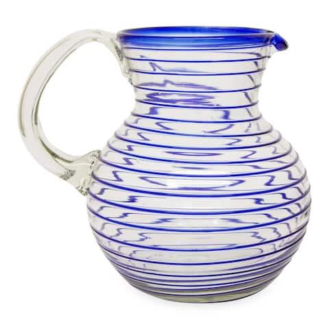 "Handmade Blue Spiral Blown Glass Pitcher (Mexico) - 7.75"" H x 7"" Diam."