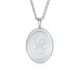 Bling Jewelry .925 Silver Dog Cat Paw Print Pet Locket Pendant Necklace 16 Inches