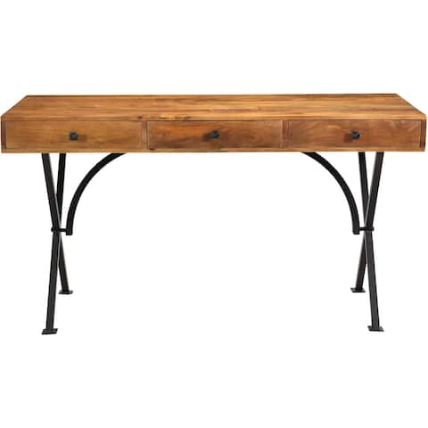 Hanover Lille Mango Wood and Iron Desk with 3 Storage Drawers