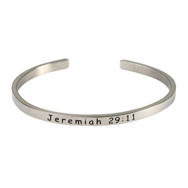 Women's Bible Verse Sterling Silver Engraved Cuff Bracelet - Jeremiah 29:11