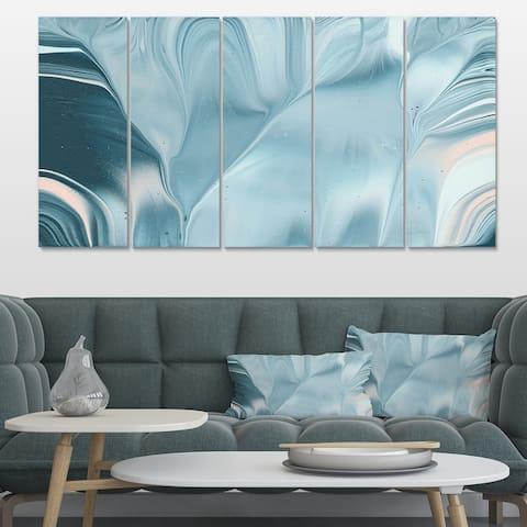 Designart 'Blue Modern Water I' Modern Transitional Canvas Artwork Print