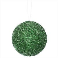4.75 in. Emerald Green Sequin And Glitter Drenched Christmas Ball