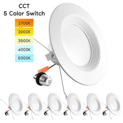 "Luxrite 5/6"" LED Recessed Lights, Color Selectable 2700K | 3000K | 3500K | 4000K | 5000K, Dimmable, 1100 Lumens, 6-Pack"