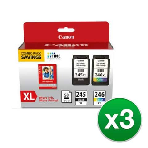 Canon PG245 XL/CL246XL 2pack Ink Cartridge (3-Pack) Canon PG-245XL/CL-246XL Ink Cartridge/Paper Kit - Black, Color - Inkjet