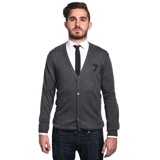 Versace Men's Medusa Head Cardigan Sweater Grey