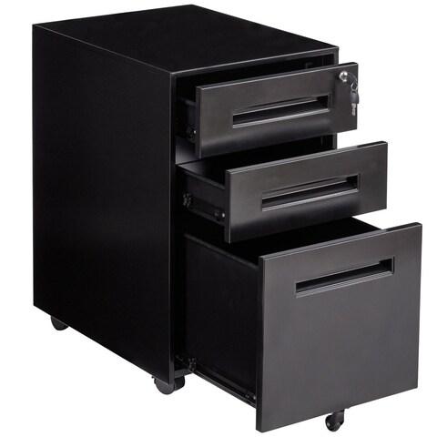 Gymax Rolling A4 File Cabinet Sliding Drawer Metal Office Organizer Storage Black