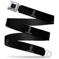 Lincoln Black Silver Logo Repeat Seatbelt Belt Fashion Belt