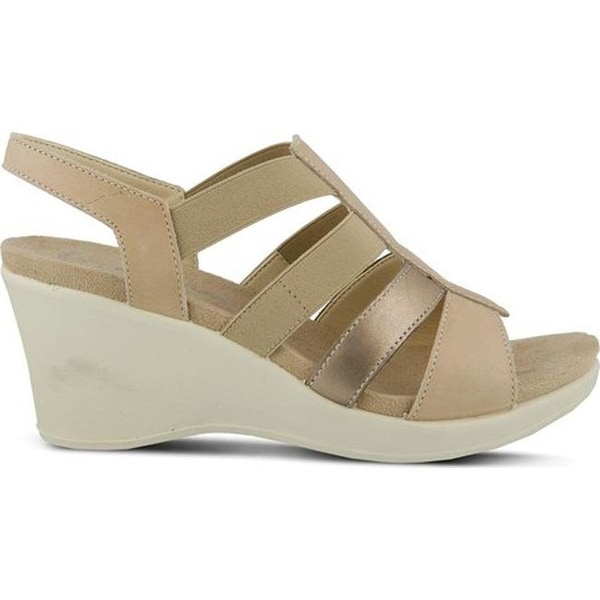 8f7bb3a4c30851 Flexus by Spring Step Women  x27 s Monnie Slingback Wedge Sandal Soft Gold  Leather