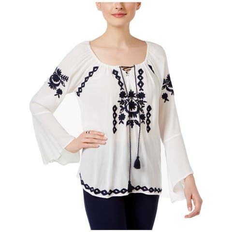 John Paul Richard Womens Peasant Top Embroidered Tie-Neck - XL