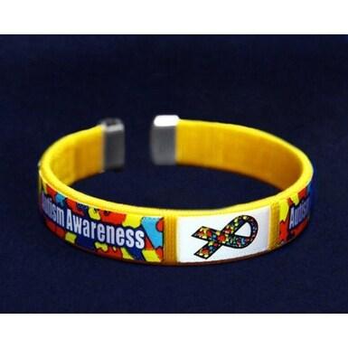 Autism and Asperger Chid Size Ribbon Fabric Bangle Bracelets -Autism Awareness