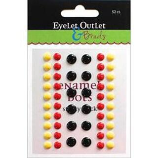 Eyelet Outlet Adhesive-Back Enamel Dots 52/Pkg-Black/Red/Yellow