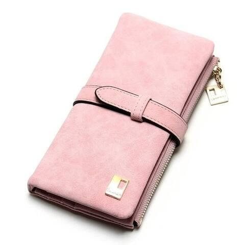 Women Zipper Leather Wallet Two Fold