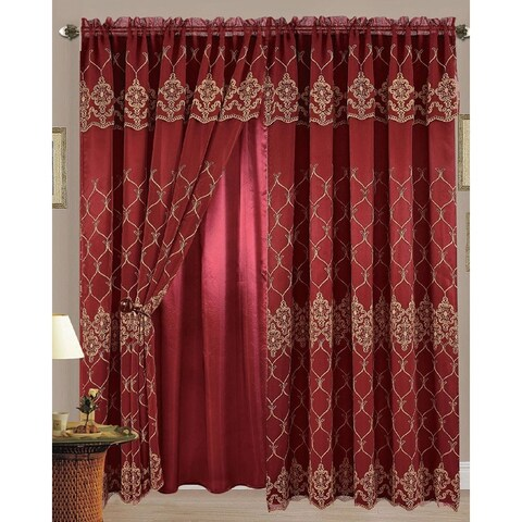 Karina Flower Embroidered Panel with Attached Valance and Backing, Burgundy-Gold, 55x84+18 - N/A